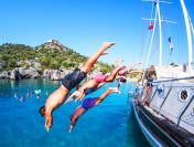 Jumping in the blue waters at Kekova